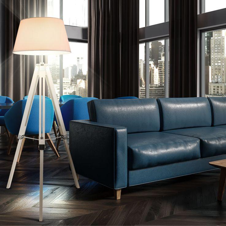 Steh Leuchte Ess Zimmer Holz Beistell Decken Fluter Stoff Lampe höhenverstellbar Globo 58292 – Bild 3