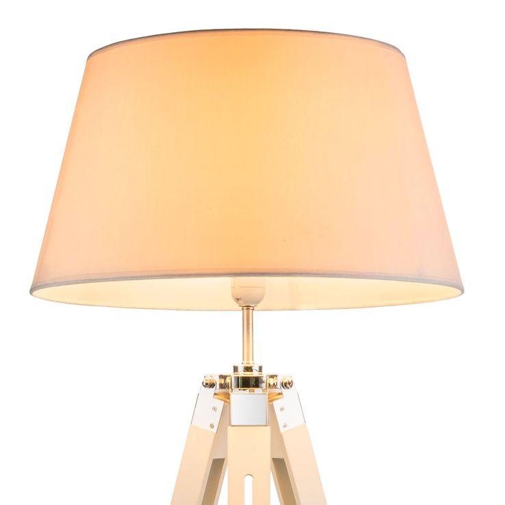 Steh Leuchte Ess Zimmer Holz Beistell Decken Fluter Stoff Lampe höhenverstellbar Globo 58292 – Bild 6