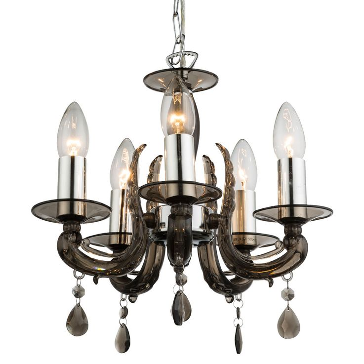 Pendant lamp Living Dining Room Chandelier Smoke Chrome Chandelier Lamp 5 flame Globo 63137-5 – Bild 4