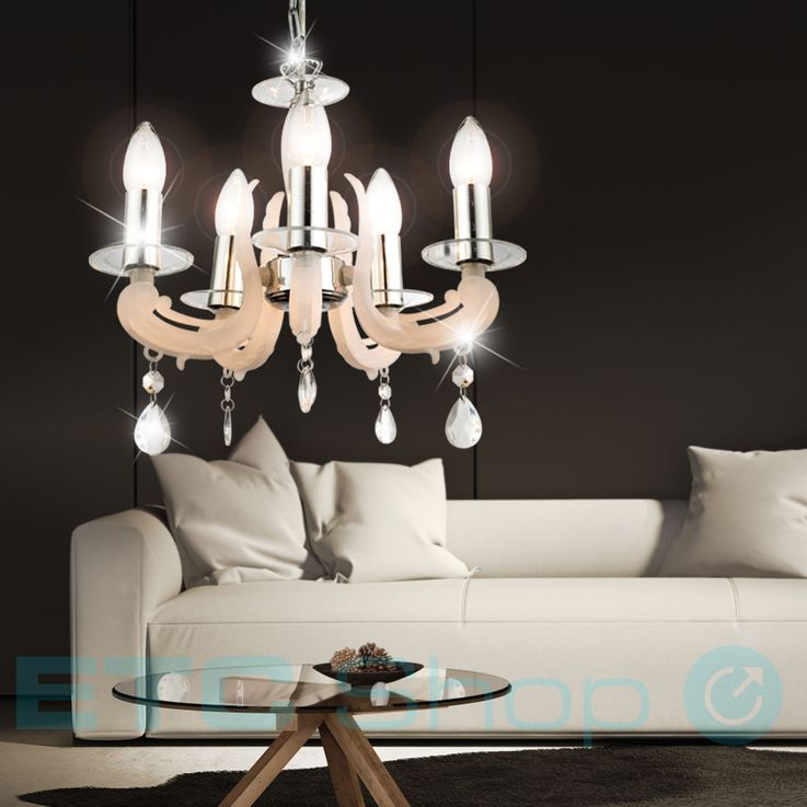 Hanging lamp Luster chrome pendant lamp living room dining room chandelier natural color Globo 63138-5 – Bild 3