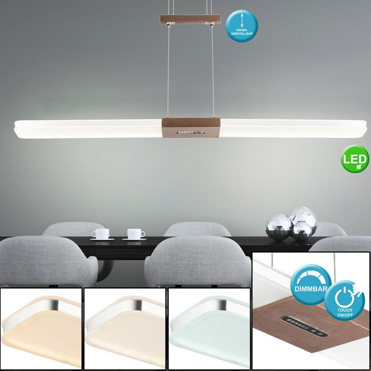 LED pendulum pendant lamp aluminum bronze touch dimmer ceiling lamp height adjustable  Globo 68156-30B – Bild 2