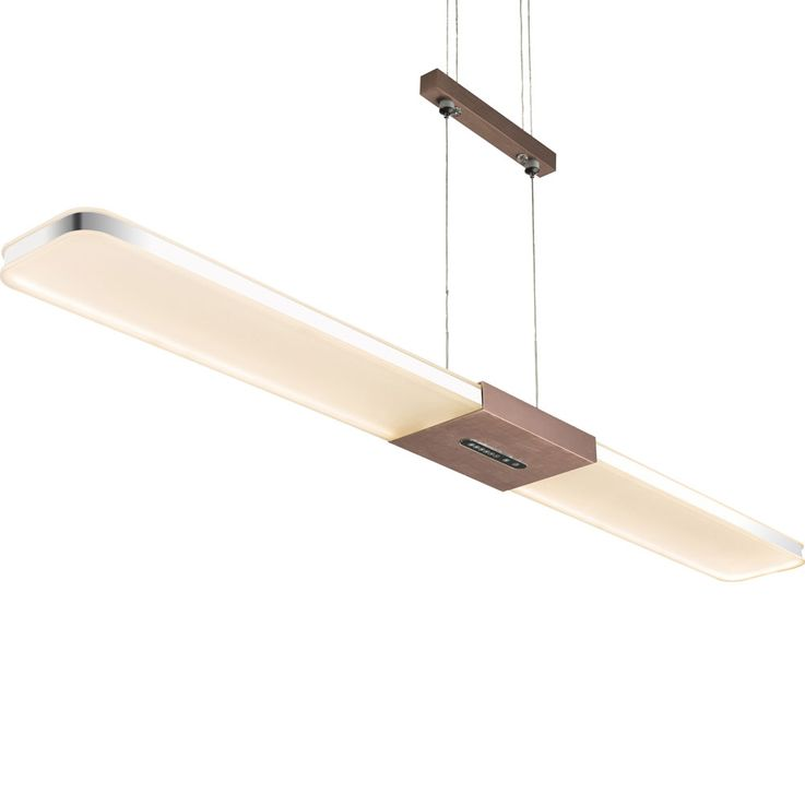 LED pendulum pendant lamp aluminum bronze touch dimmer ceiling lamp height adjustable  Globo 68156-30B – Bild 4