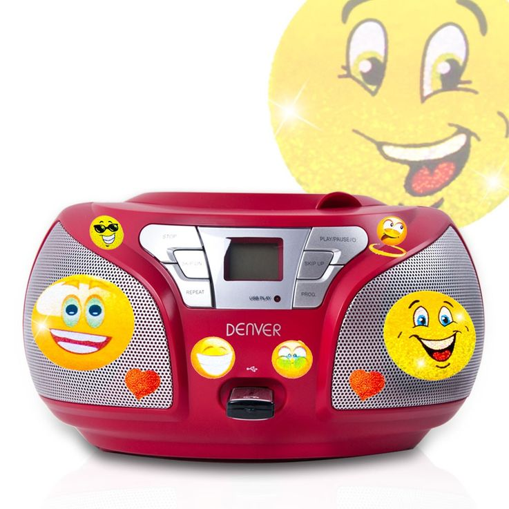Stereo CD radio with USB connection and smiley stickers – Bild 1