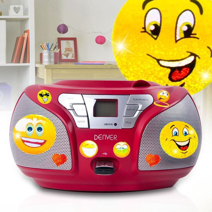 Stereo CD radio with USB connection and smiley stickers – Bild 2