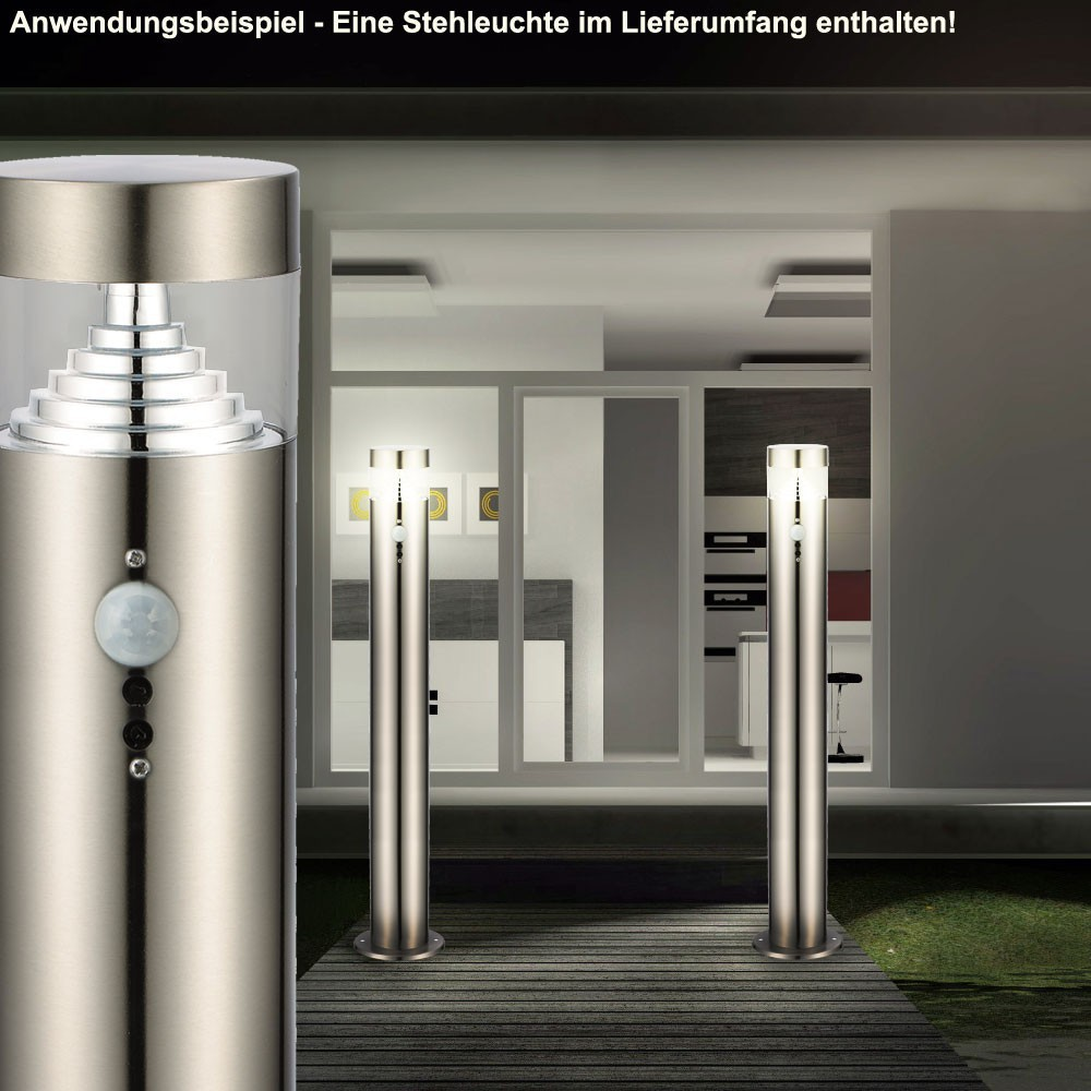 drei led stehleuchte f r den au enbereich mit bewegungsmelder. Black Bedroom Furniture Sets. Home Design Ideas