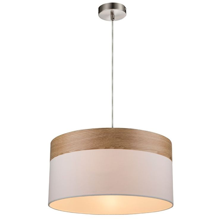 Cover pendulum textile hanging lamp light beige wood lighting dining room Globo 15221 H – Bild 1