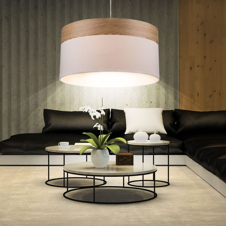 Cover pendulum textile hanging lamp light beige wood lighting dining room Globo 15221 H – Bild 4