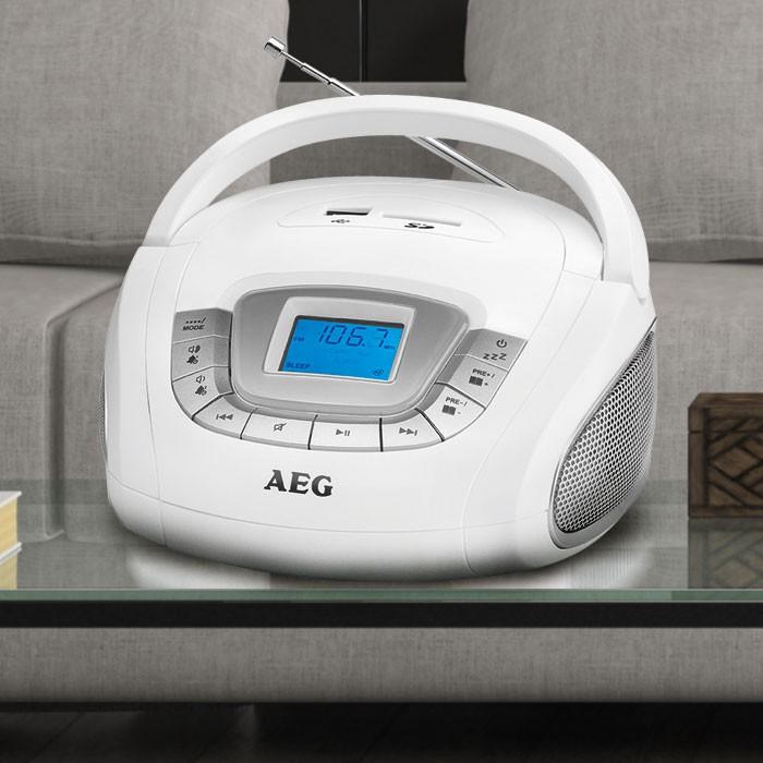 AEG Stereo Lautsprecher Radio Boombox USB SD Musik Anlage im Set inklusive Smiley Sticker – Bild 2