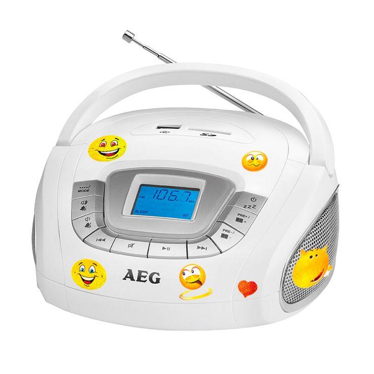 AEG Stereo Lautsprecher Radio Boombox USB SD Musik Anlage im Set inklusive Smiley Sticker – Bild 1