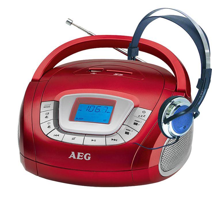 AEG Stereo Lautsprecher Radio Boombox USB SD Musik Anlage AUX im Set inklusive Kopfhörer – Bild 1