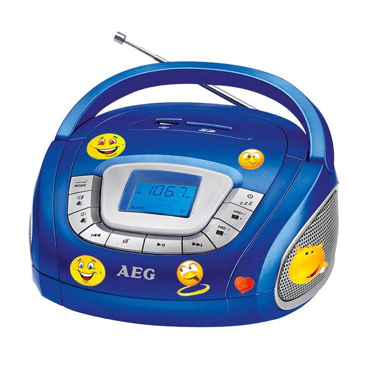 AEG SR 4373 Stereo Radio mit USB, SD und Smiley Aufkleber – Bild 1