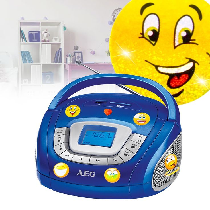 Stereo speaker radio boombox USB SD music system in the set including smiley stickers – Bild 2