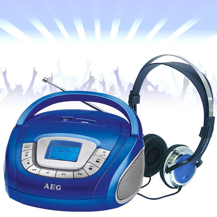 Stereo speaker radio boombox USB SD music system AUX in the set including headphones – Bild 2