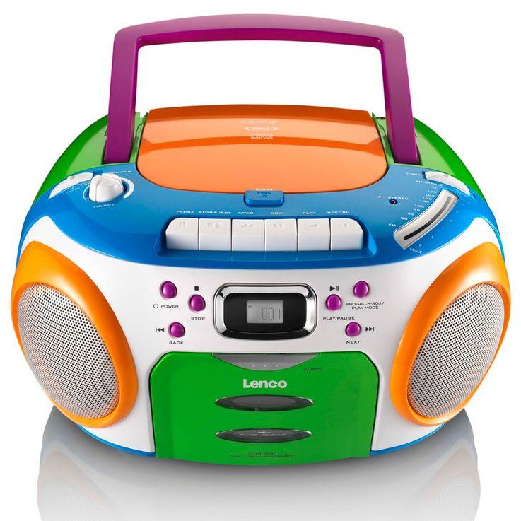 CD MP3 Player FM Radio Stereo Kassetten Spieler Kinder Musik Boombox bunt Lenco SCR-970 – Bild 4