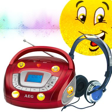 Stereo speaker radio boombox USB SD music system in the set including smiley stickers and headphones – Bild 2