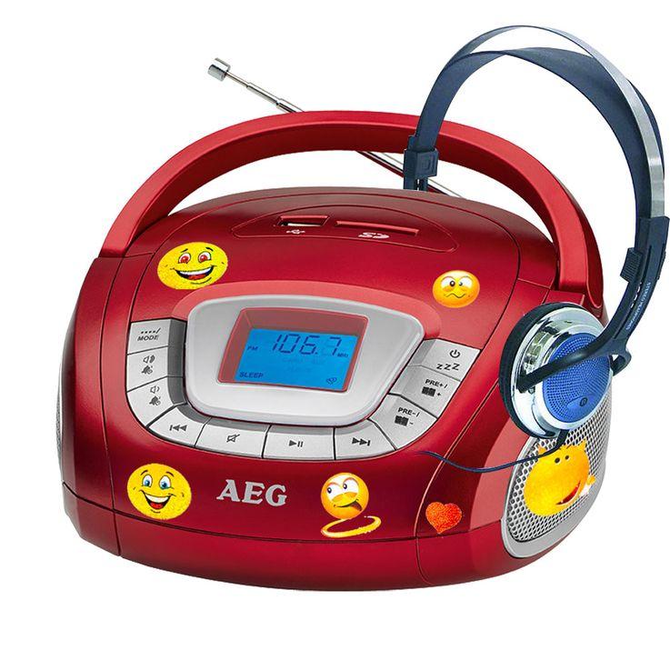 AEG Stereo Radio mit Kopfhörer und Smiley Aufkleber – Bild 1
