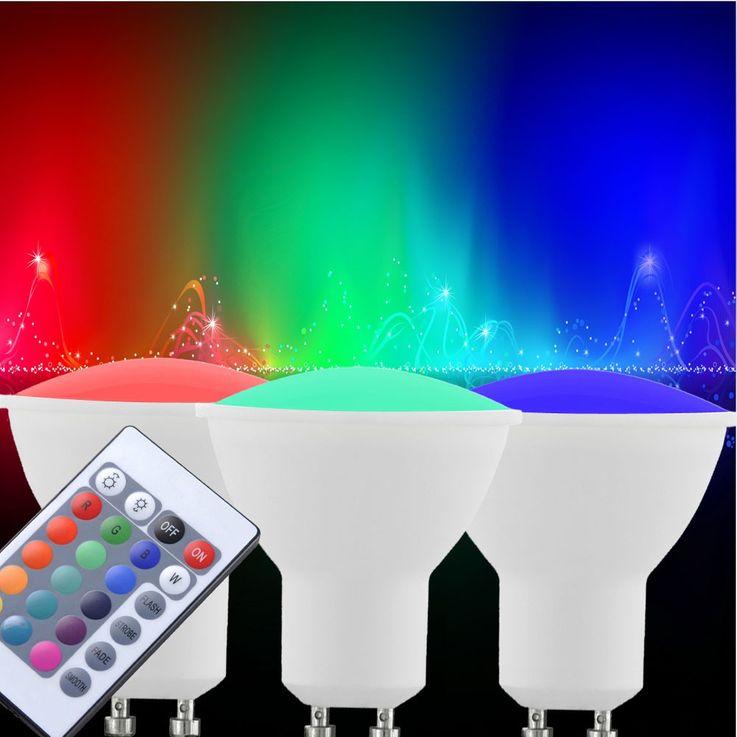 3er Set RGB LED Leuchtmittel 4 Watt Fernbedienung dimmbar bunt GU10 Strahler EEK A Eglo 10687 – Bild 2