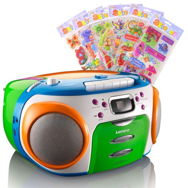 Buntes CD-Radio mit Kassettendecke und Puffy Stickern – Bild 1