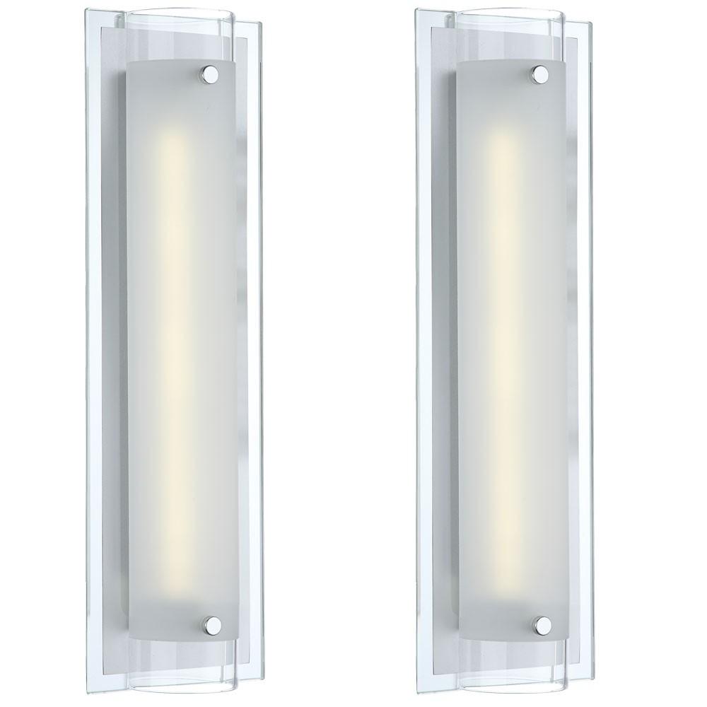 led 2er set wand leuchte wohnraum flur spiegel glas. Black Bedroom Furniture Sets. Home Design Ideas