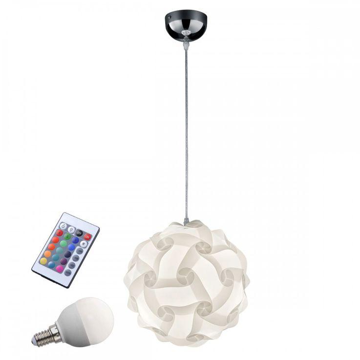 luminaire suspendu LED RGB avec le blanc, abat-jour rond – Bild 1