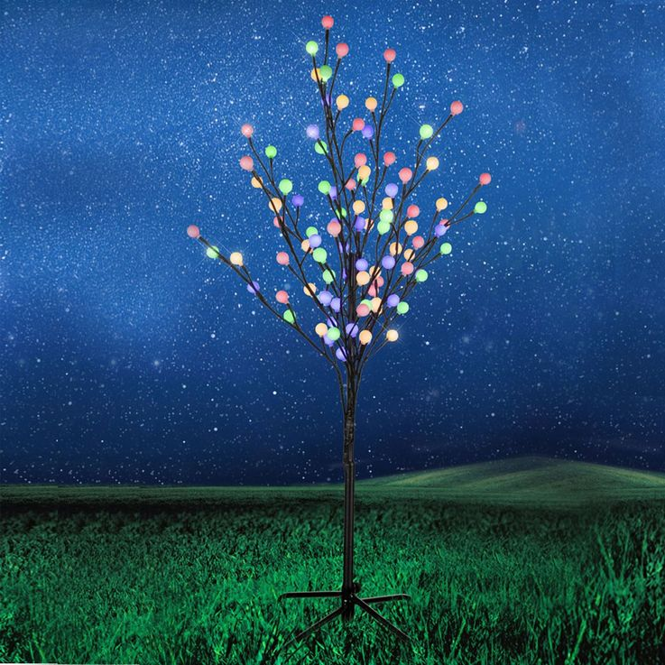 96x LED Bunt Deko Baum schwarz Steh Stand Leuchte Kugeln 5m Kabel IP44 Leuchtbaum Globo 39116 – Bild 2