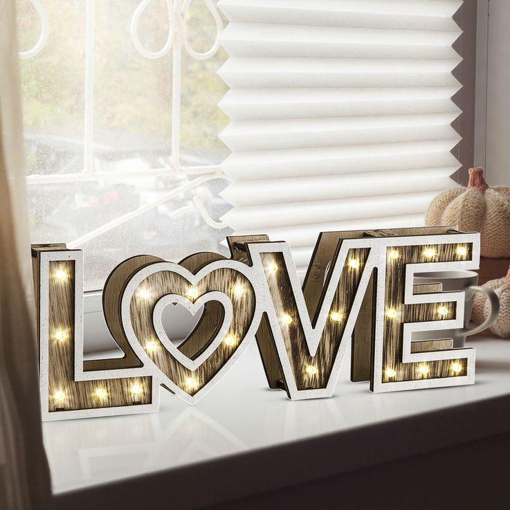 LED Table Stand Lampe Salon Sommeil Chambre Amour Décoration Coeur Batterie Lampe Bois Globo 29976 – Bild 2