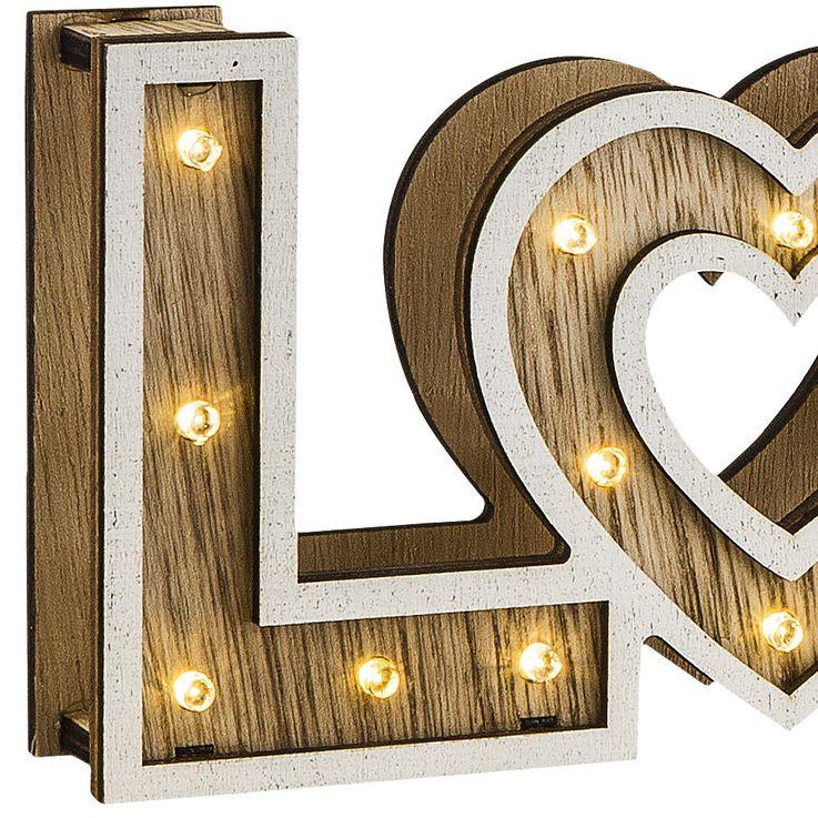 LED Table Stand Lampe Salon Sommeil Chambre Amour Décoration Coeur Batterie Lampe Bois Globo 29976 – Bild 3