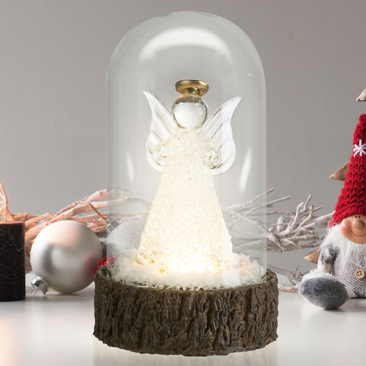 LED Table Glass Angel Lamp Christmas X-MAS Stand Deco Snow Powder Light  Globo 23230 – Bild 2