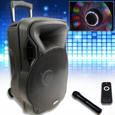 800W Mobile LED Soundanlage Karaoke Bluetooth USB SD Trolley Funkmikro MP3 PARTY-15LED – Bild 2