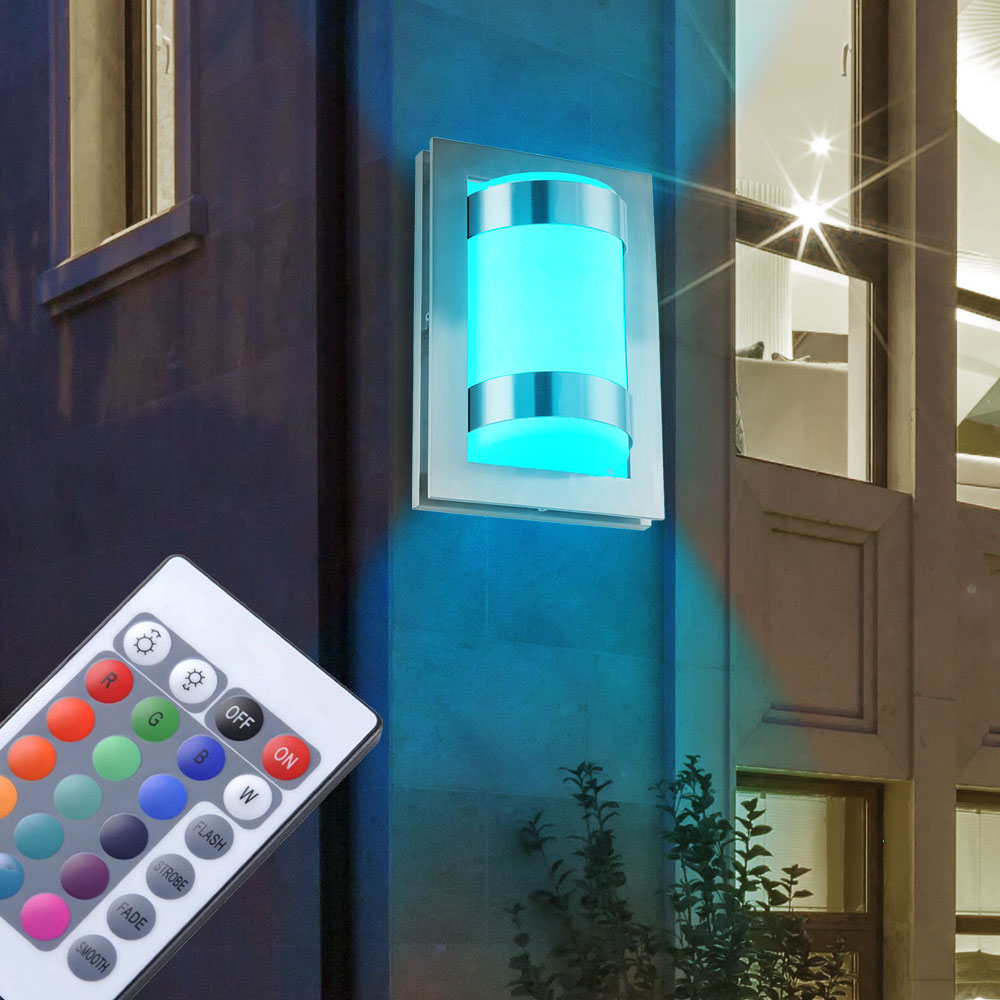rgb led wandleuchte fernbedienung balkon au enlampe dimmer farbwechsel h 33 cm ebay. Black Bedroom Furniture Sets. Home Design Ideas