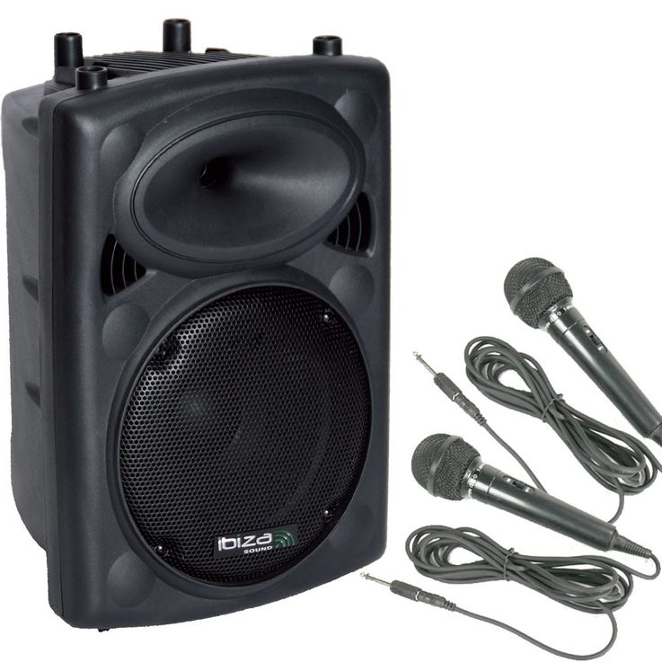 400 Watt active PA box speaker Bluetooth USB amplifier 2 x microphone DJ-active 3 – Bild 1