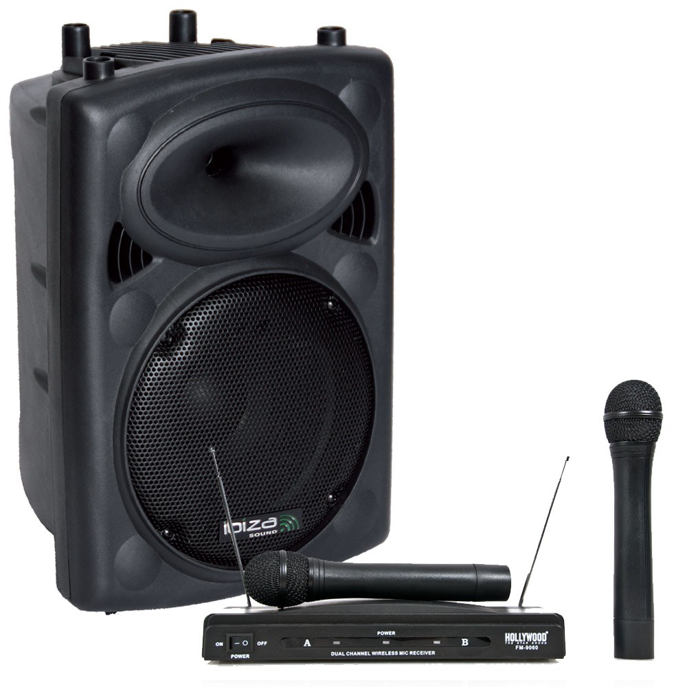 aktive pa lautsprecher box usb bluetooth mit funkmikrofonset audio technik dj equipment. Black Bedroom Furniture Sets. Home Design Ideas