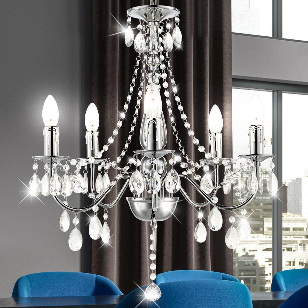 Luxus Pendel Leuchte Kristall Hänge Decken Luster Chrom Wohnraum Big Light