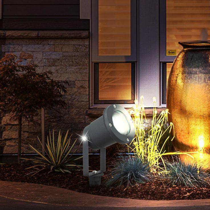 Un borne à piquer à DEL RVB en aluminium noir pour le jardin – Bild 5