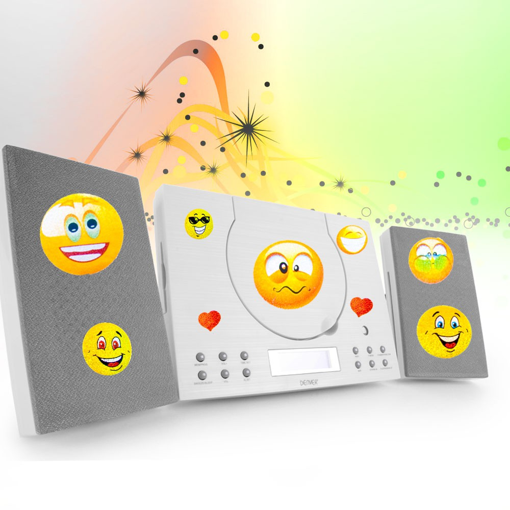 kinder zimmer musik anlage cd player stereo radio fernbedienung smiley sticker ebay. Black Bedroom Furniture Sets. Home Design Ideas