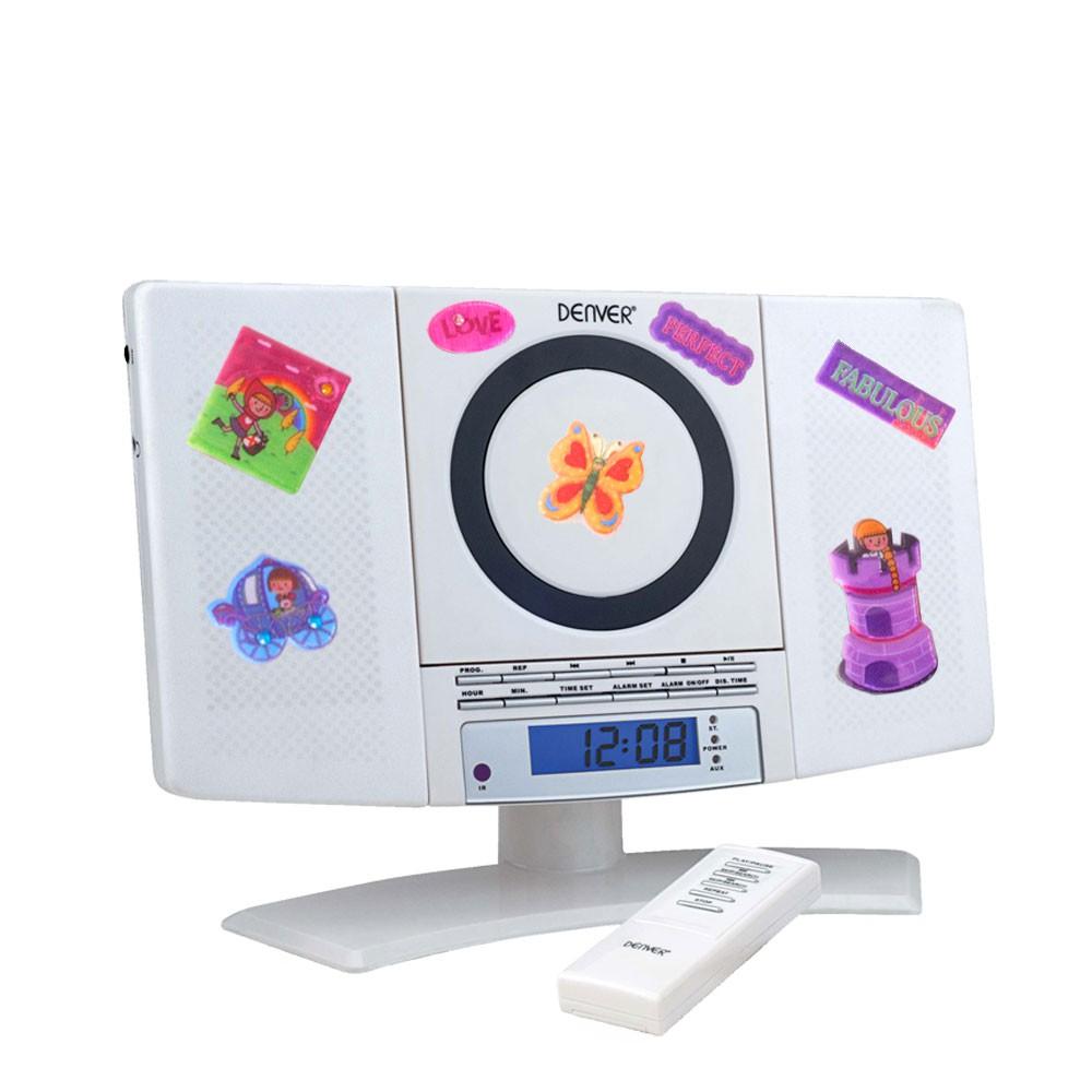 Mini Stereo Anlage Kinder Zimmer CD Player MP3 Tuner Radio im Set inklusive Puffy Sticker
