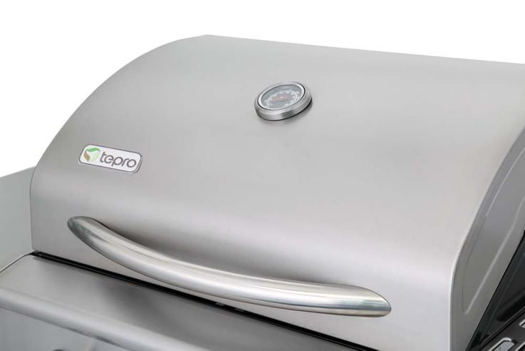Gas Grill 3 Edelstahl Brenner mobil BBQ Garten Aromabox Terrasse Seitenbrenner – Bild 8