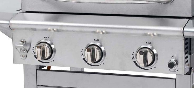 Gas Grill 3 Edelstahl Brenner Garten BBQ Mobil Seitenablag Aromabox Thermometer – Bild 7