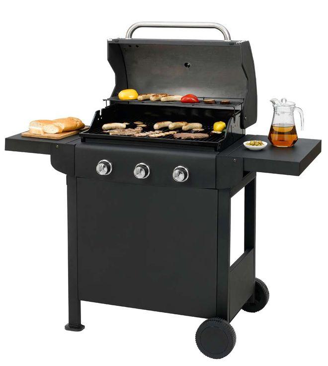 Party Gas Stand Grill 3 Edelstahl Brenner Garten BBQ Barbeque Thermometer H93 cm – Bild 12