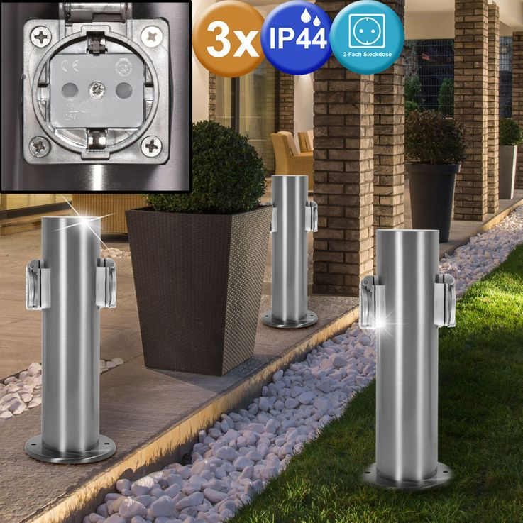 3 set 2 specialist outdoor Sockets energy power distributor stainless steel IP44 column – Bild 2