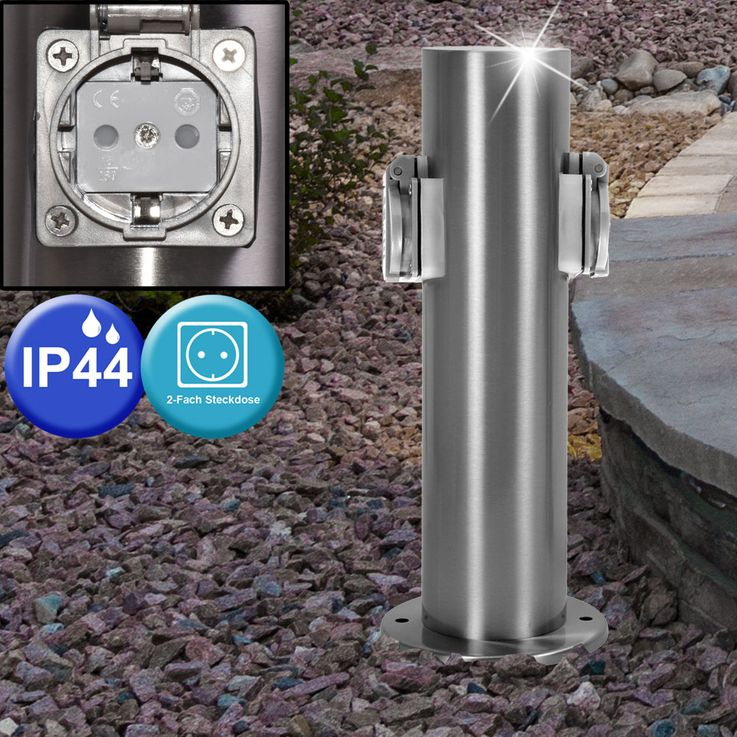 3 set 2 specialist outdoor Sockets energy power distributor stainless steel IP44 column – Bild 4