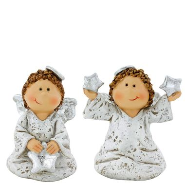 2er Set Shabby Look Engel Steh Figuren weiß Advents Tisch X-MAS Stern Dekoration – Bild 1