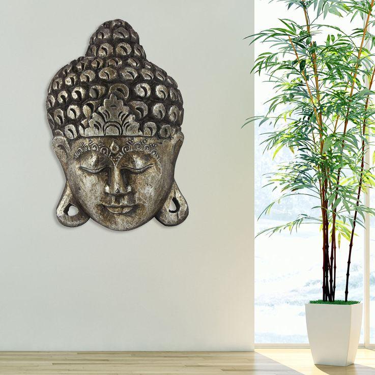 Luxus Wand Buddha Bild Gesicht Asien Relax Holz Wohnraum Flur Dekoration silber BHP B991686 – Bild 2
