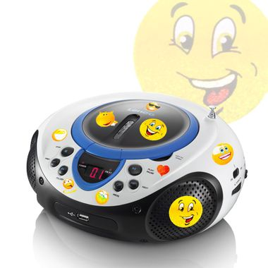 Portable CD player MP3 USB port radio tuner AUX LED in the set including smiley stickers – Bild 1
