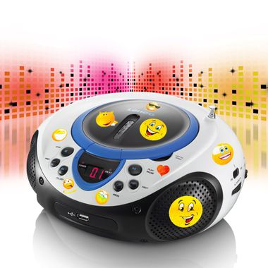 Portable CD player MP3 USB port radio tuner AUX LED in the set including smiley stickers – Bild 2