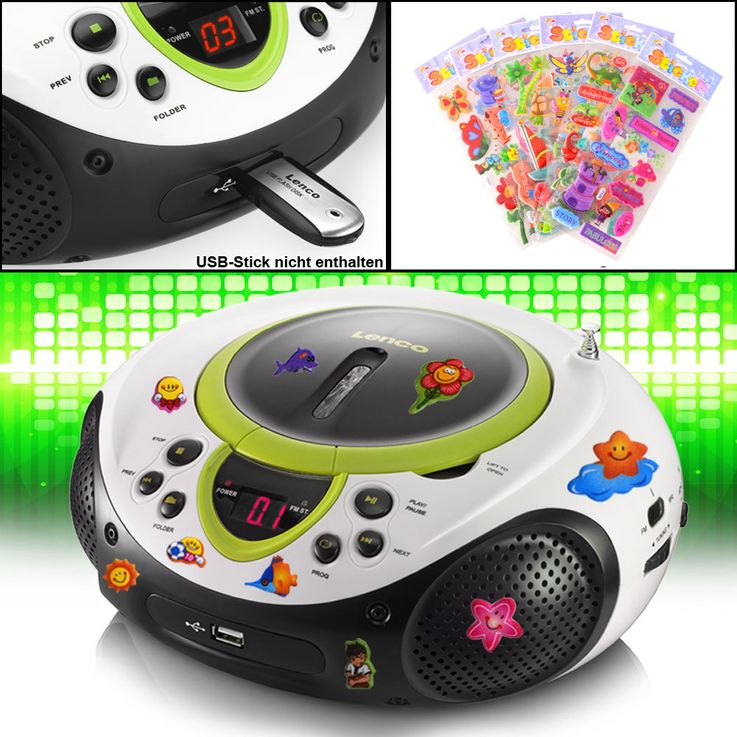 Tragbarer CD-Player MP3 USB Anschluss Radio Tuner AUX LED im Set inklusive Puffy Sticker – Bild 2