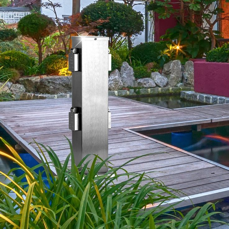 Garden Quad Sockets stand Sockets power distributor outdoor stainless steel Philips 50790000002015 – Bild 2
