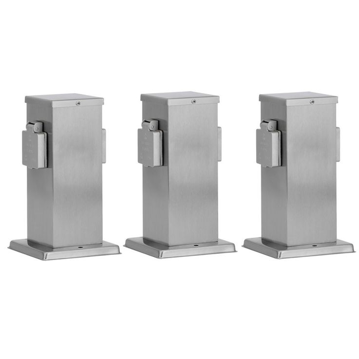 3 set stainless steel outdoor outlets post IP44 energy distributor double plug – Bild 1