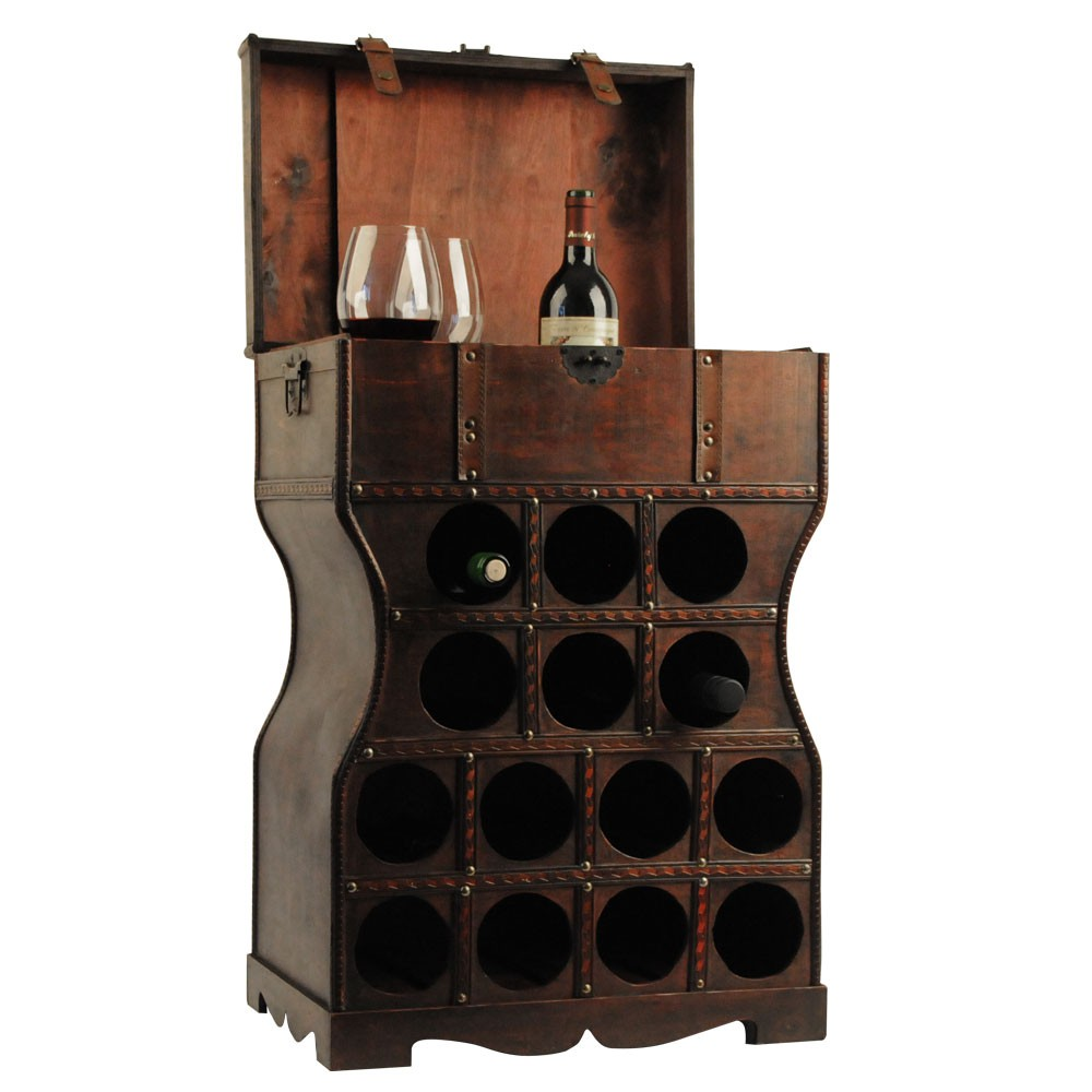 wine rack kolonial stil wine bottle rack holz truhen regal. Black Bedroom Furniture Sets. Home Design Ideas