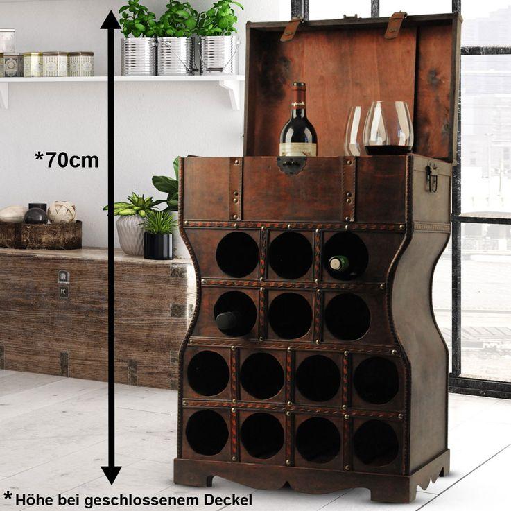 Wein Regal Holz Kiste Metallbeschlag Flaschen Ständer Getränke Schrank rustikal Harms304005 – Bild 2